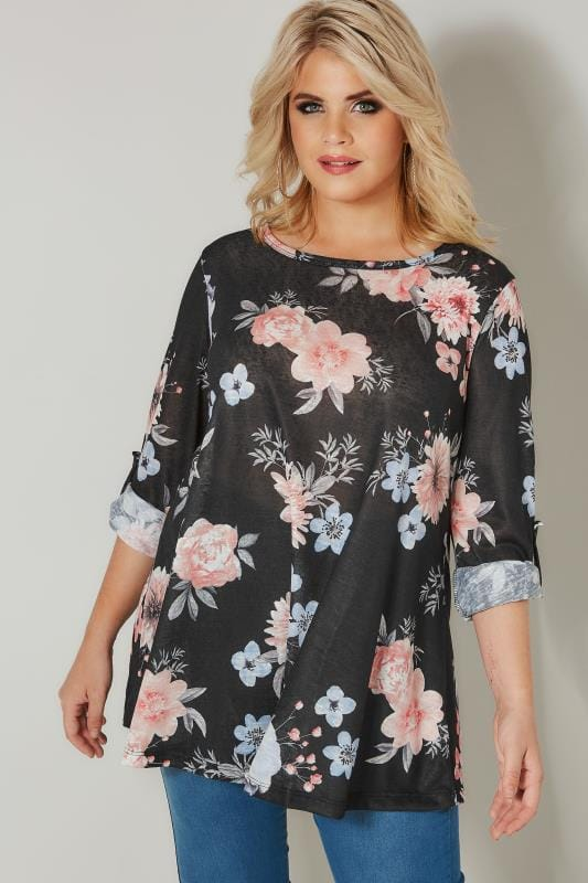 Black & Multi Floral Roll Sleeve Top