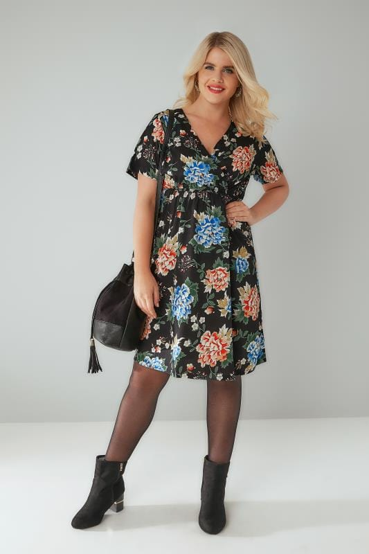 Black & Multi Floral Rose Print Wrap Dress With Elasticated Waistline