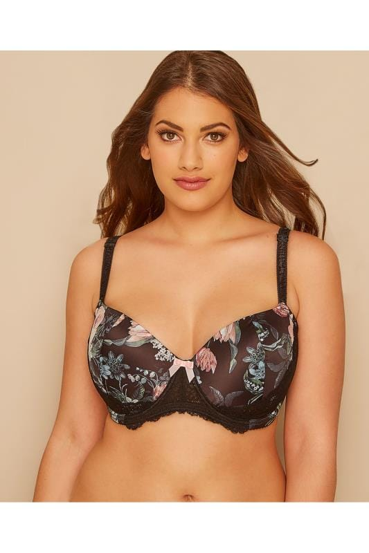 Moulded Bras Black & Multi Floral Satin Underwired Bra With Moulded Cups 146079
