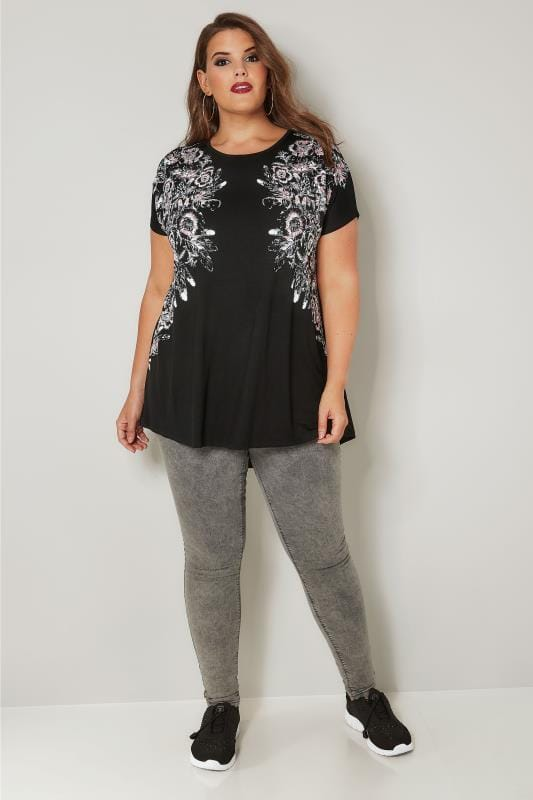 Black Floral Stud Embellished Top