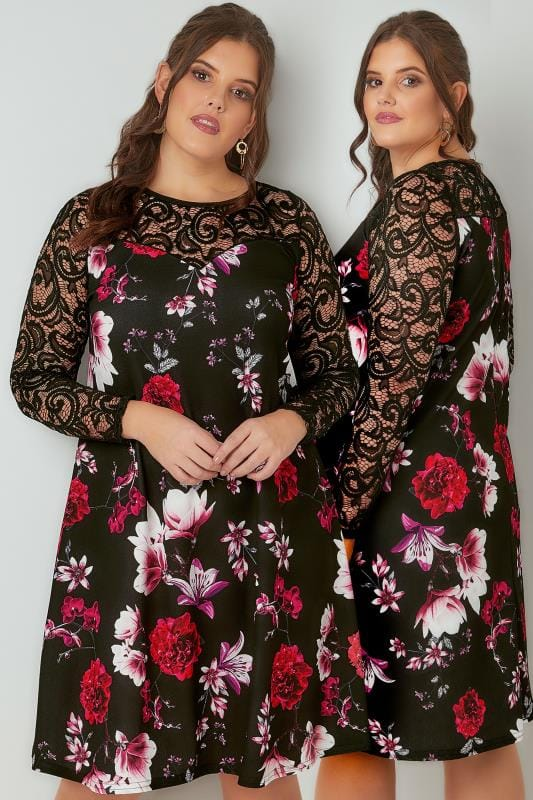 Plus Size Swing Dresses Black & Multi Floral Swing Dress With Lace Yoke & Sleeves