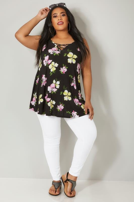Black & Multi Floral Vest Top With Cross Front Detail