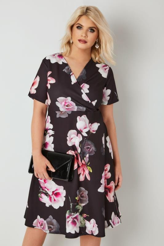 Plus Size Midi Dresses Black & Multi Floral Wrap Dress