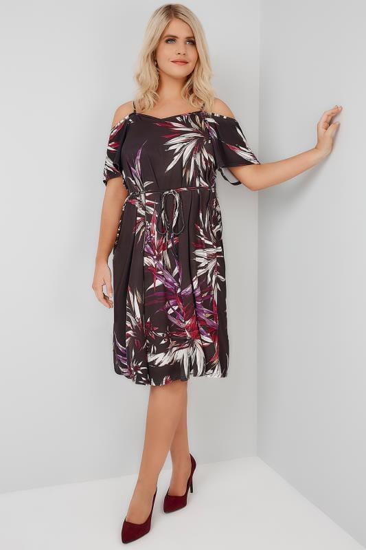 Plus Size Party Dresses Purple & Multi Leafy Floral Cold Shoulder Jersey Cami Dress With Waist Tie