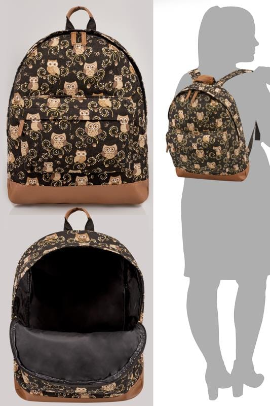 Black & Multi Owl Print Backpack