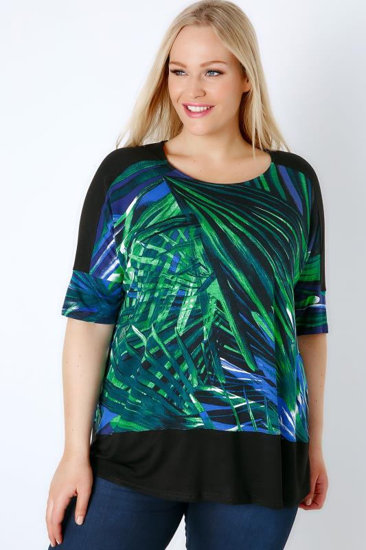 Black & Multi Palm Leaf Print Colour Block Top