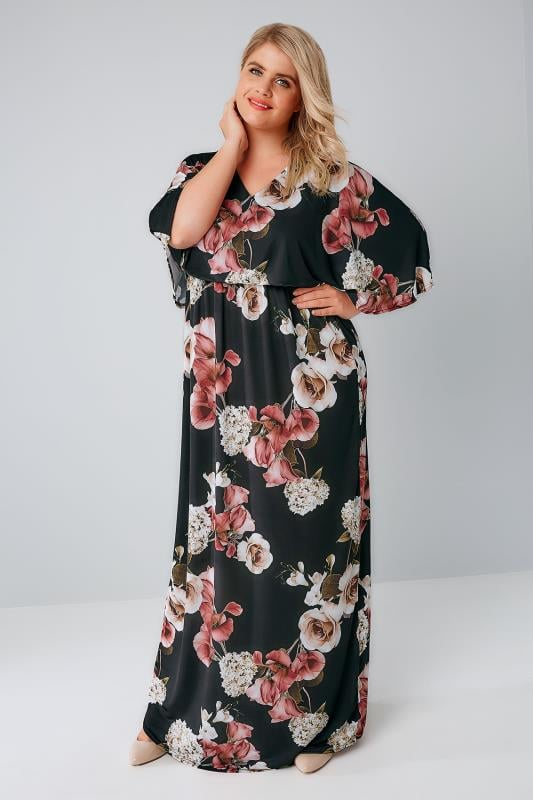YOURS LONDON Black & Multi Rose Print Maxi Dress With Kimono Sleeves