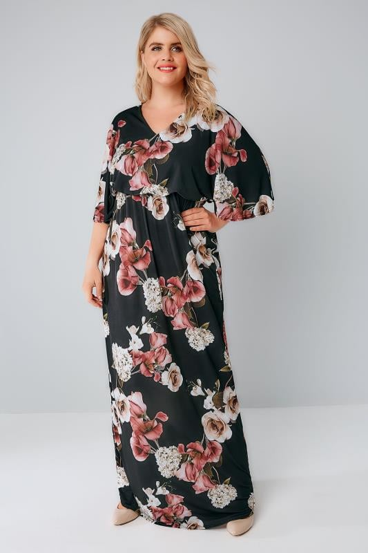 Black & Multi Rose Print Maxi Dress With Kimono Sleeves