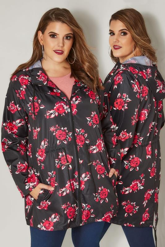 Plus Size Coats Black Rose Print Pocket Parka Jacket