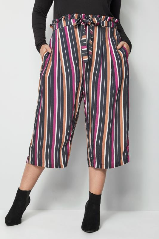 Plus Size Cropped Trousers Black & Multi Stripe Culottes