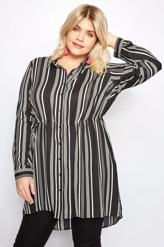 Plus Size Shirts Black Multi Stripe Longline Shirt