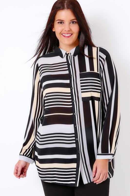 Black & Multi Stripe Shirt With Side Splits