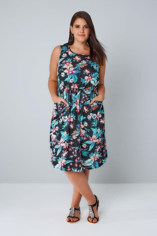 Black & Multi Tropical Floral Pocket Dress With Elasticated Waistband