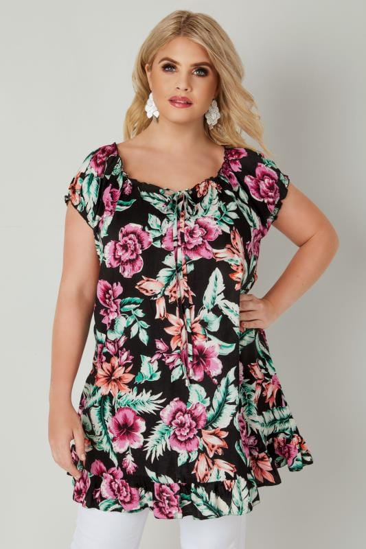 Plus Size Day Tops Black & Multi Tropical Floral Print Gypsy Top With Frill Hem