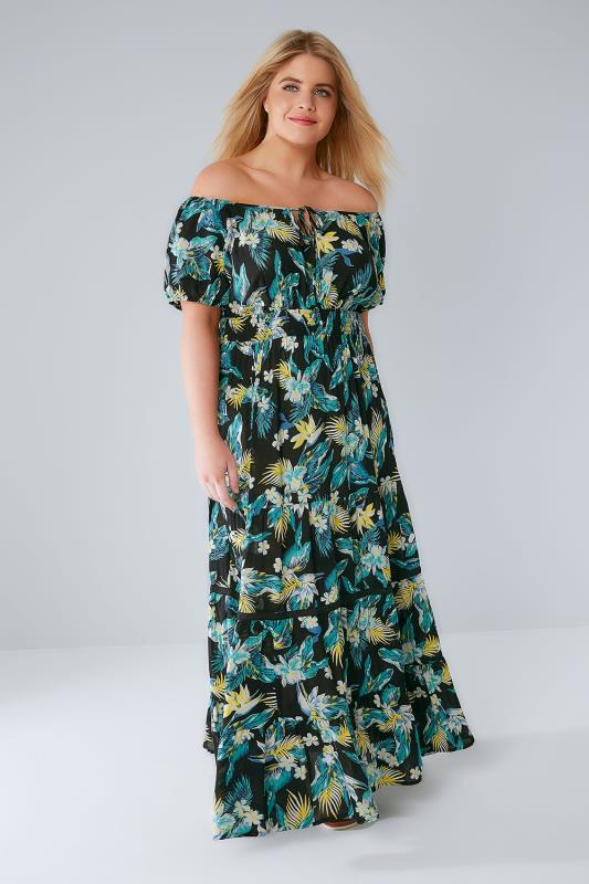 Plus Size Maxi Dresses Black & Multi Tropical Print Gypsy Maxi Dress