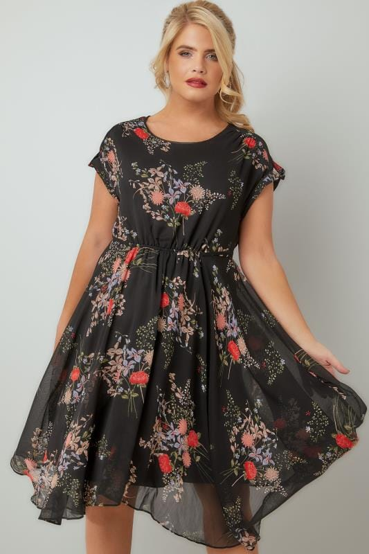 Black & Multi Vintage Floral Print Chiffon Dress With Hanky Hem