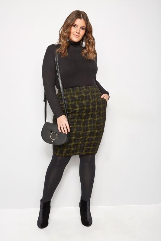 Plus Size Pencil Skirts Black & Mustard Check Pencil Skirt