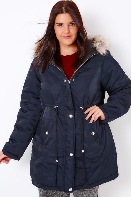 Black & Navy Reversible Parka and Puffer Jacket