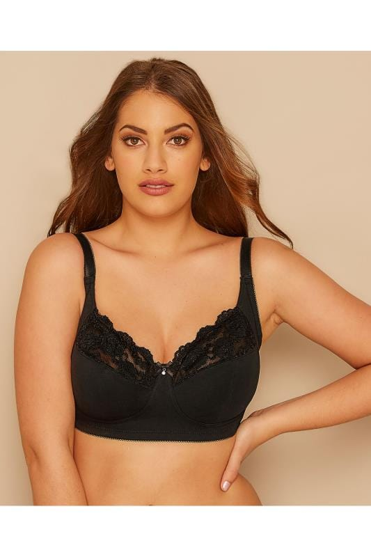 Plus Size Wireless Bras Black Non-Wired Cotton Bra With Lace Trim - Best Seller