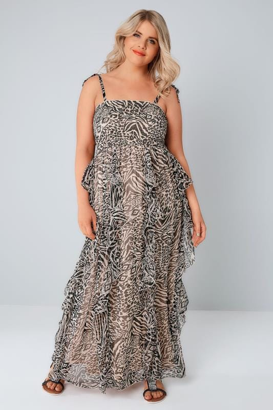 Black & Nude Animal Print Chiffon Frill Maxi Dress