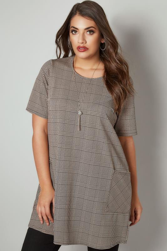 Plus Size Tunic Dresses Black & Nude Dog Tooth Checked Tunic Dress With Front Pockets