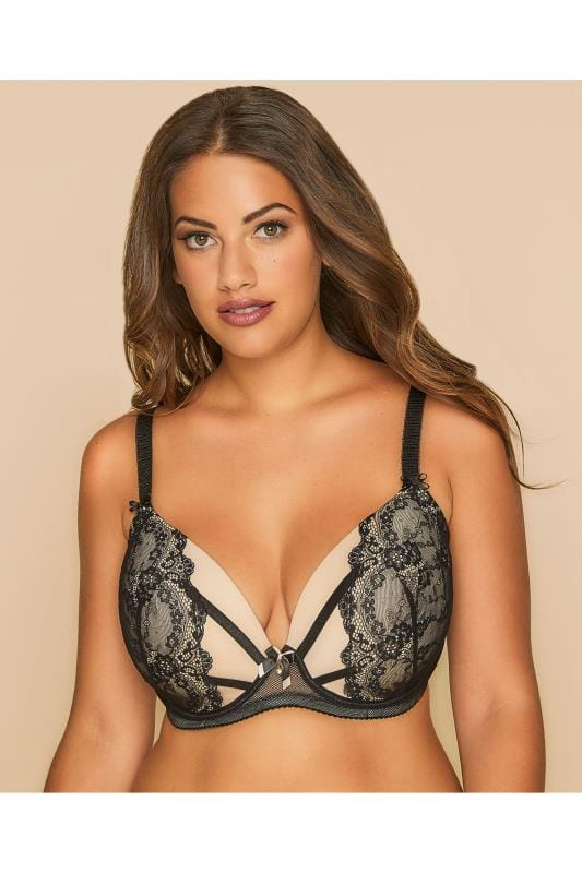 Black & Nude Floral Lace Underwired Padded Bra