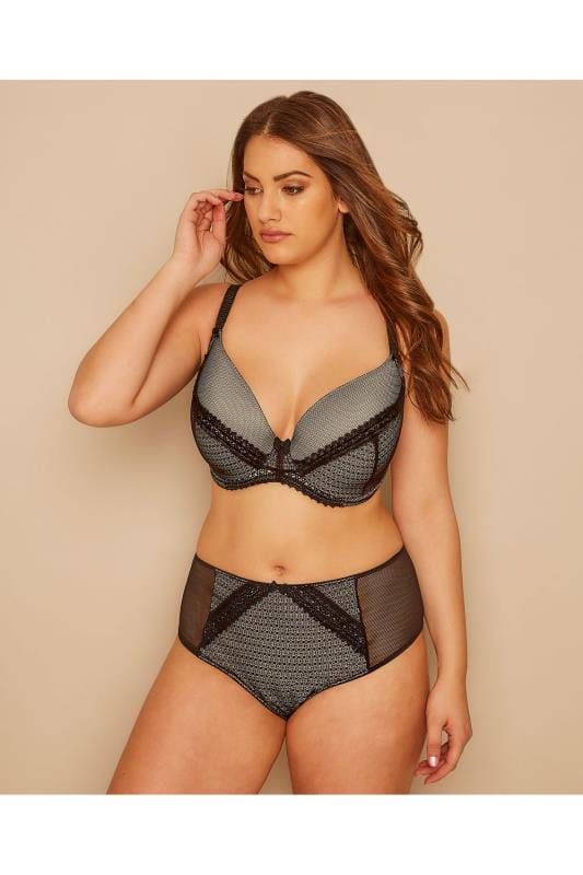 Plus Size Briefs Black & Nude Lace Overlay Brief