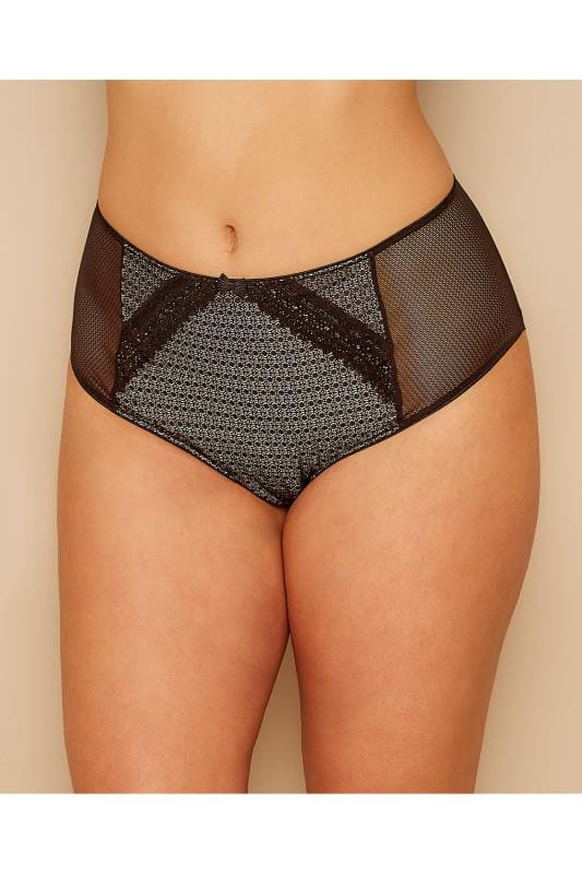 High Waisted Black & Nude Lace Overlay High Waist Brief 146084