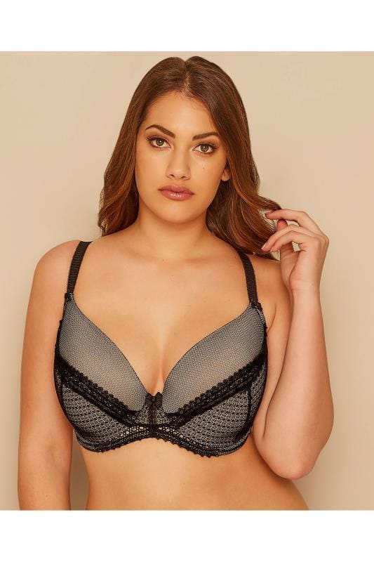 Plus Size Plus Size Moulded Bras Black & Nude Lace Overlay Underwired Plunge Bra With Moulded Cups