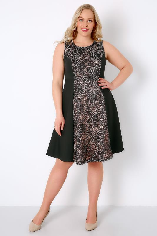 Black & Nude Panel Skater Dress With Glitter & Lace Detail
