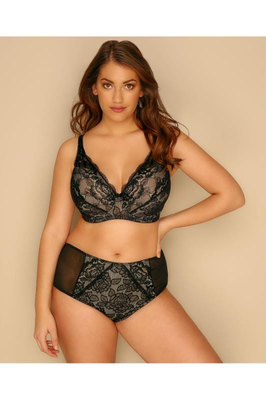Black & Nude Rose Lace Underwired Bra With Moulded Cups