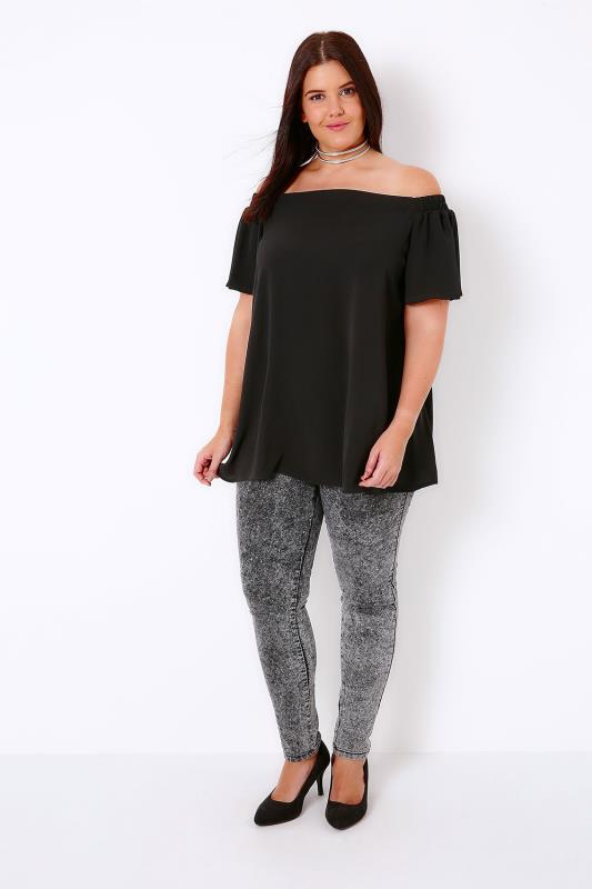 Black Off The Shoulder Bardot Swing Top