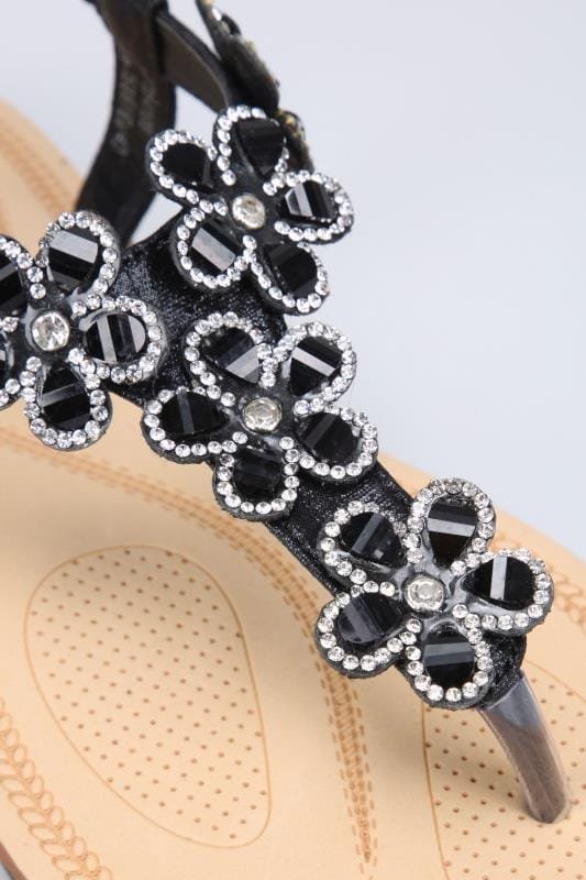 Black Open Toe Sandals With Embellished Floral Straps In TRUE EEE Fit