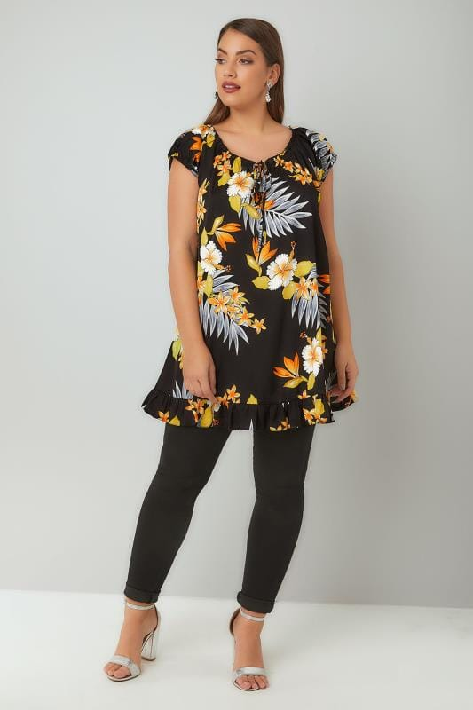 Black, Orange & Multi Floral Print Gypsy Top