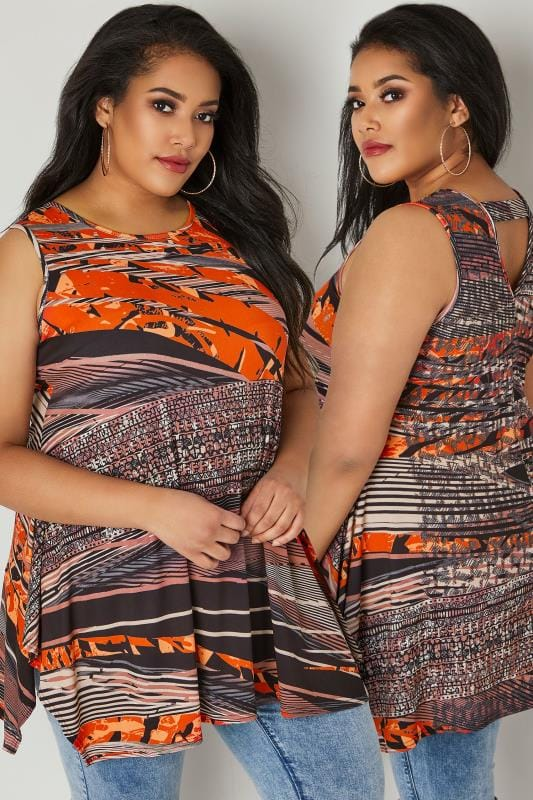 Black & Orange Printed Sleeveless Top With Hanky Hem