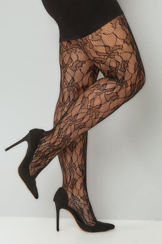Grote maten Grote maten Panty's Black Orchid Leaf Patterned Lace Tights