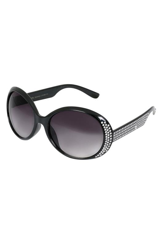 Plus Size Sunglasses Black Oval Diamante Embellished Sunglasses With UV 400 Protection