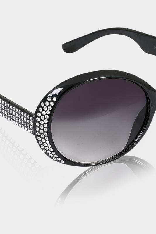 Black Oval Diamante Embellished Sunglasses With UV 400 Protection
