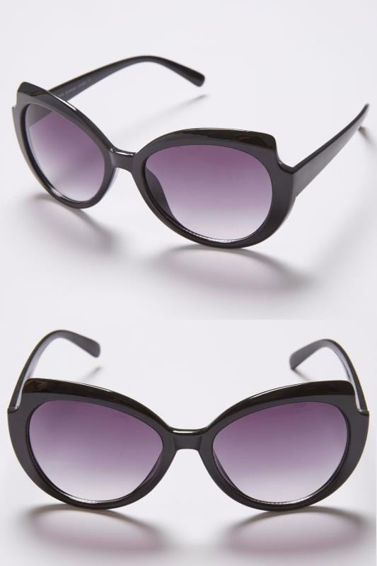 Plus Size Sunglasses Black Oval Frame Sunglasses With Cut Out Detail & UV 400 Protection