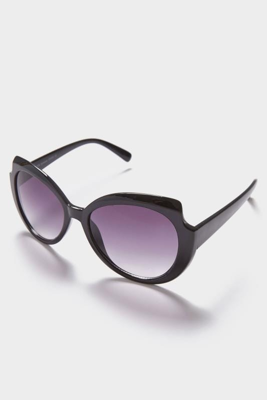 Black Oval Frame Sunglasses With Cut Out Detail & UV 400 Protection