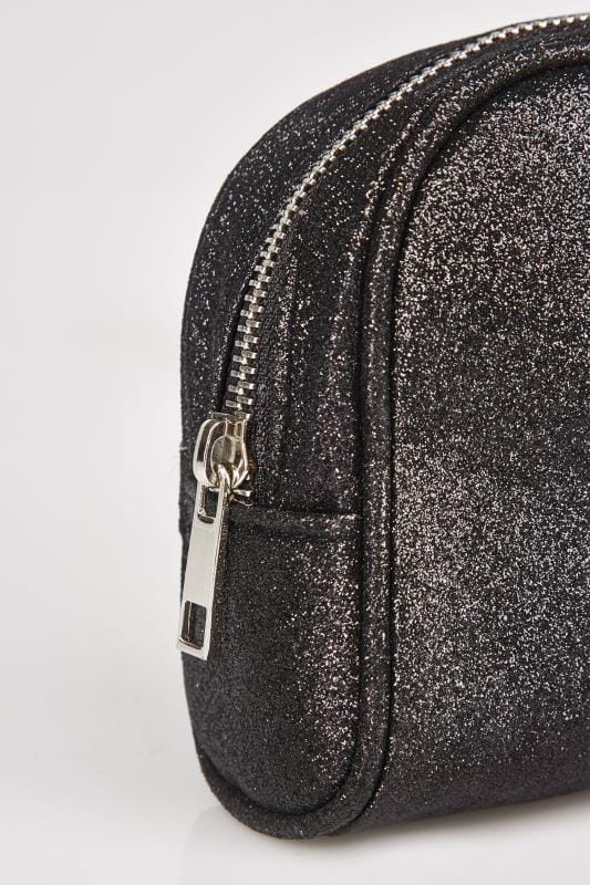 Black Oval Glitter Make-Up Bag With Zip Top