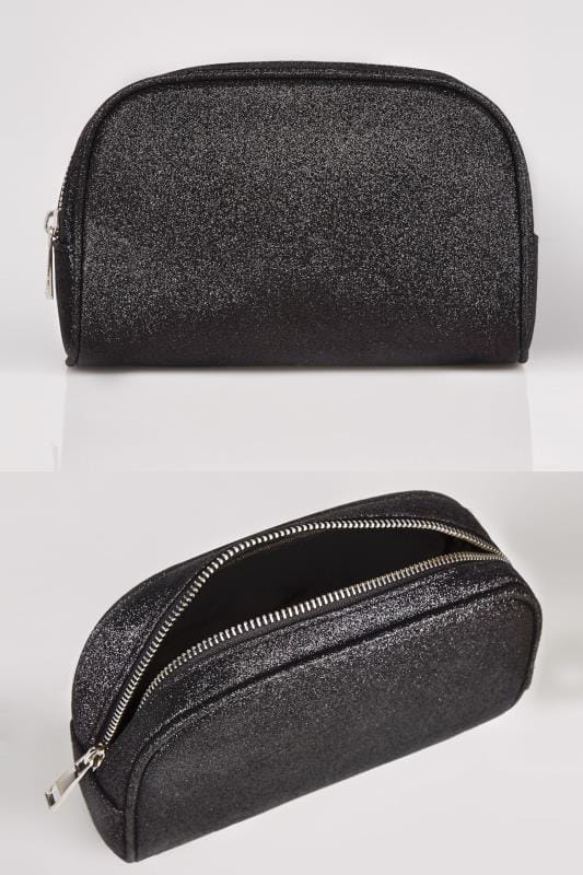 Bags & Purses Black Oval Glitter Make-Up Bag With Zip Top 152385