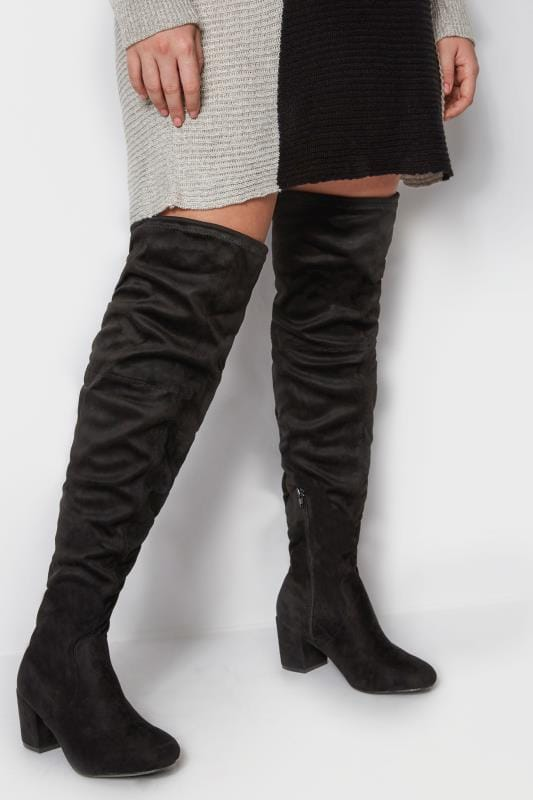 Wide Fit Boots Black Over The Knee Boots In EEE Fit
