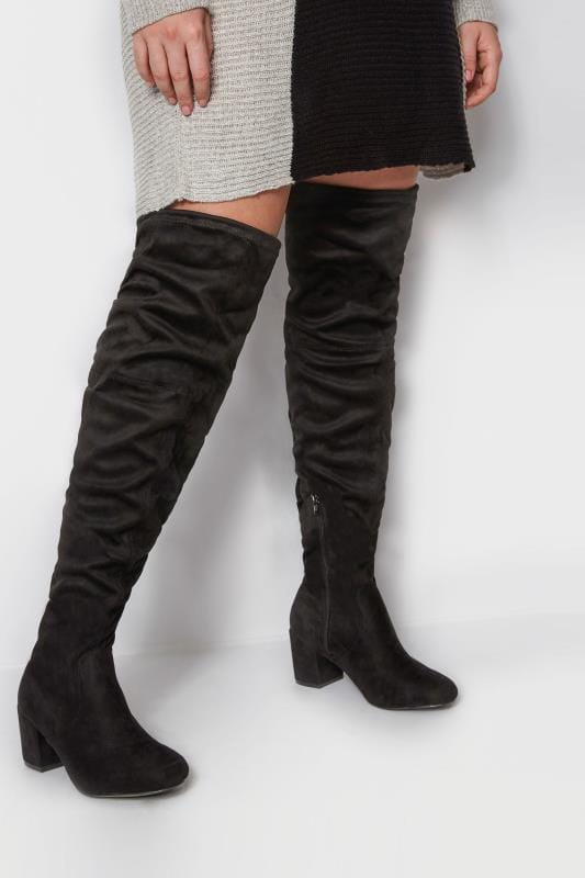 Plus Size Boots Black Over The Knee Boots In EEE Fit