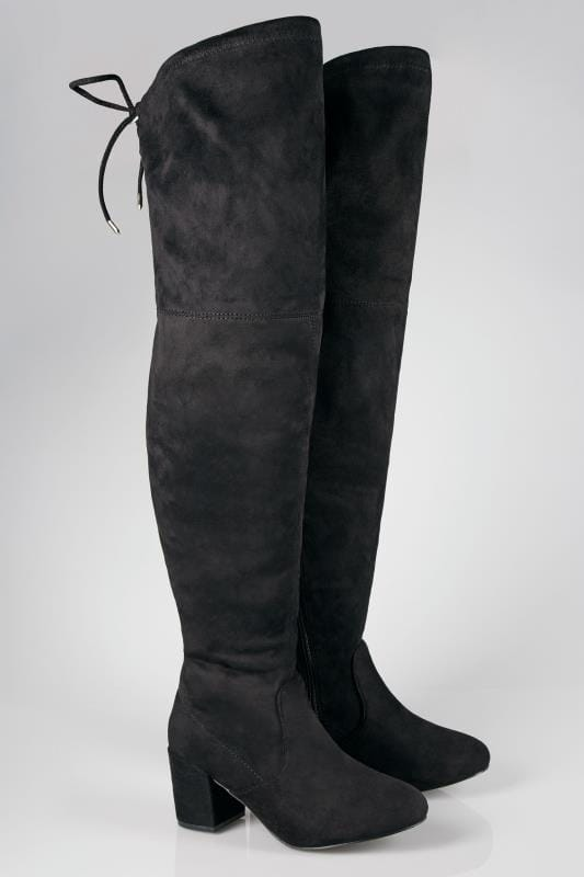 Wide Fit Boots Black XL Calf Over The Knee Boots In TRUE EEE Fit
