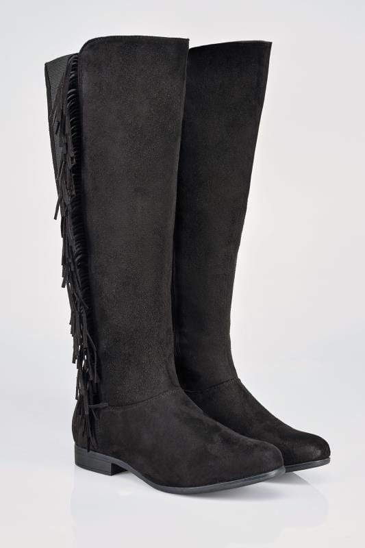 Black Over The Knee Suedette Wide Calf Boots With Fringing Detail In EEE Fit