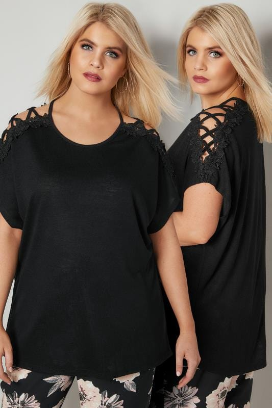 Plus Size Jersey Tops Black Oversized Top With Floral Lace Detailing & Lace Sleeves