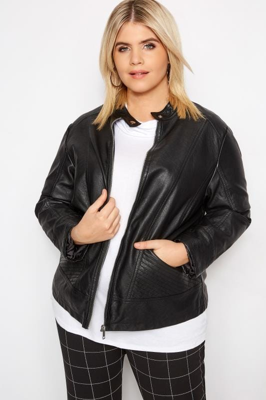 Plus Size Leather Look Jackets Black PU Leather Jacket