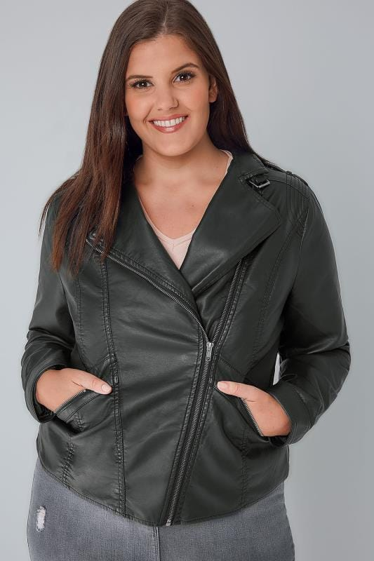 Plus Size Leather Look Jackets Black PU Leather Look Biker Jacket
