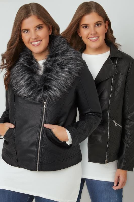 Leather Look Jackets Black PU Leather Look Biker Jacket With Faux Fur Collar 120030